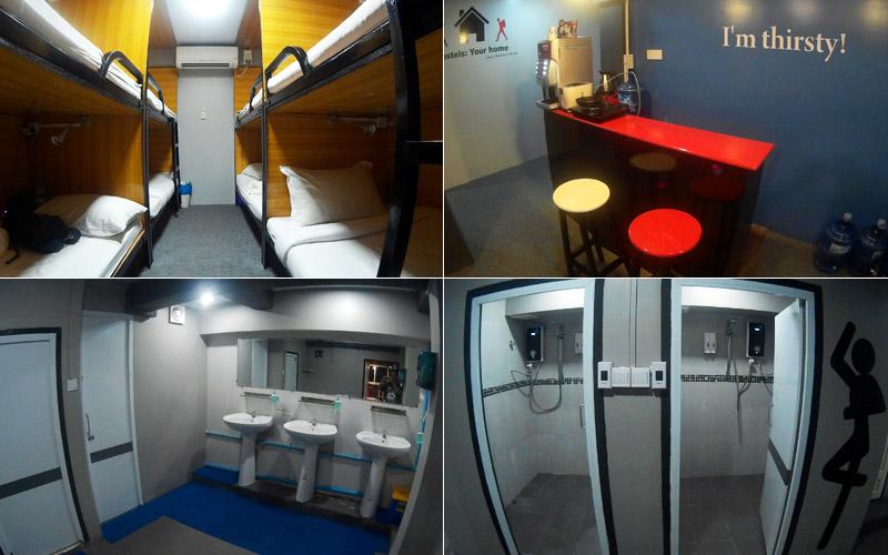 Kamar dorm, kantin, dan kamar mandi di Space Boutique Hostel